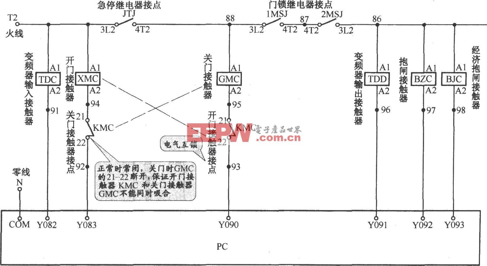 北京图捷电梯接触器接线电路