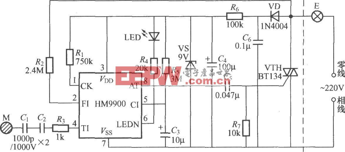 HM9900触摸式延迟熄灯电路