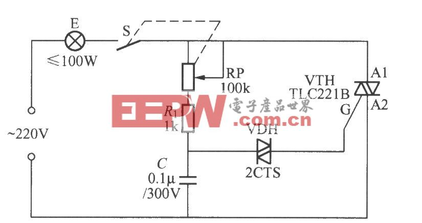 采用双向触发二极管的双向晶闸管调光灯电路