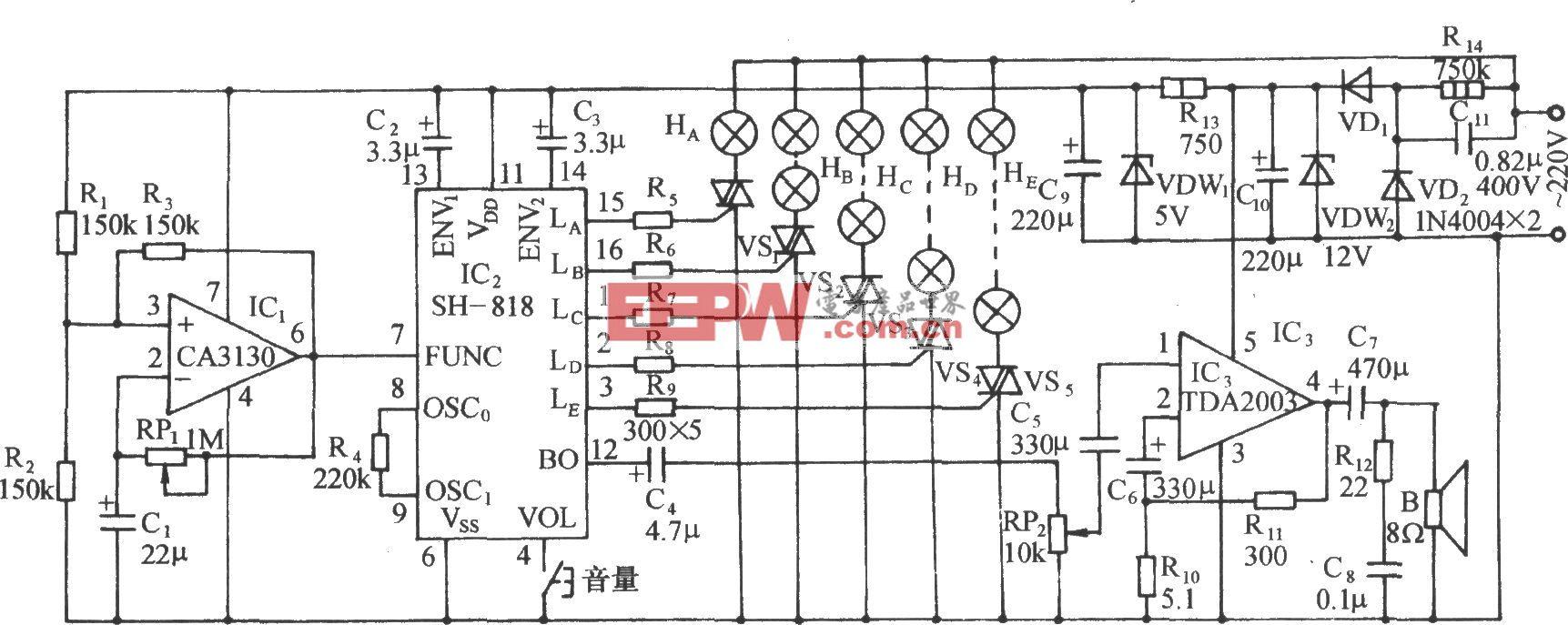 SH-818七功能彩燈及優質鋼琴名曲自動控制電路