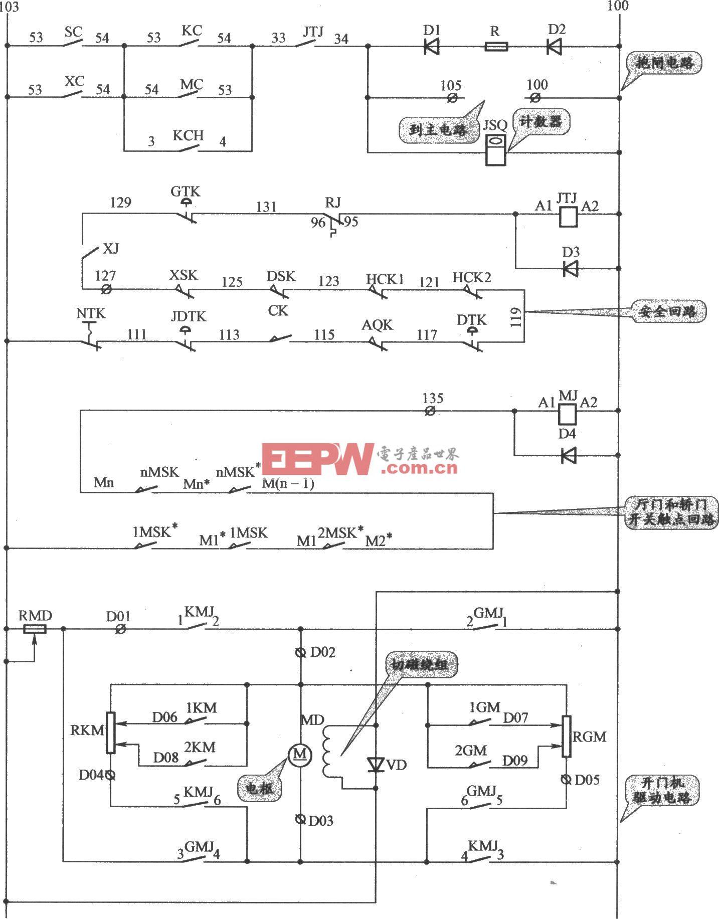 沈阳三洋交流双速电梯抱闸、门机与安全回路电路
