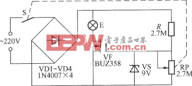 简易V-MOSFET调光灯电路