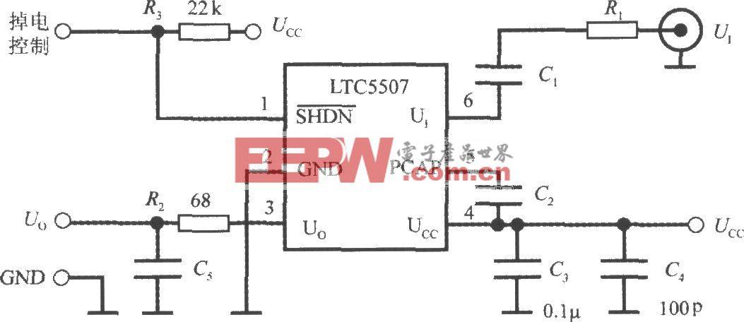 单片射频功率测量系统LTC5507的典型应用电路