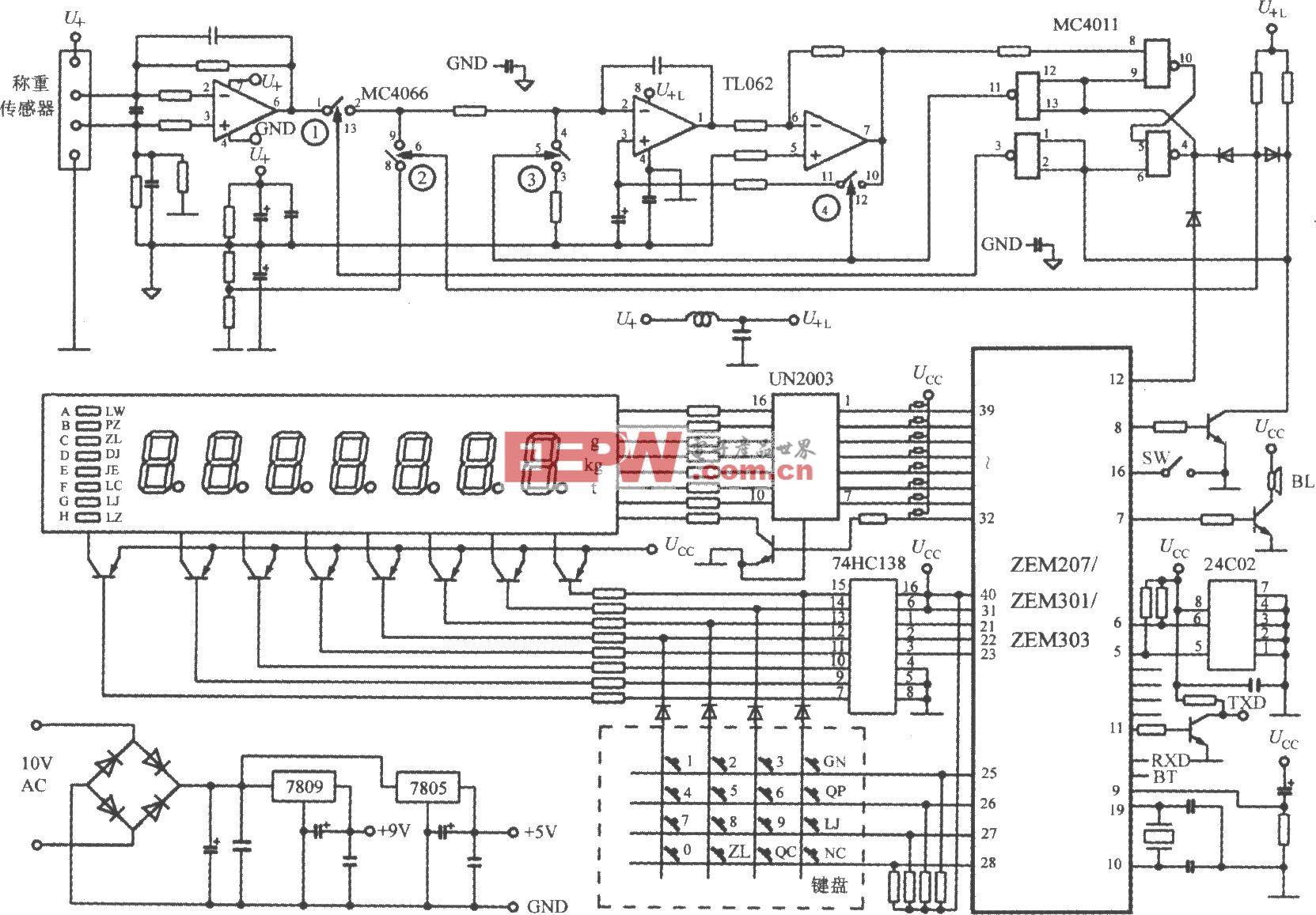 由单片电子称重系统ZEM系列构成单片电子称重系统的电路