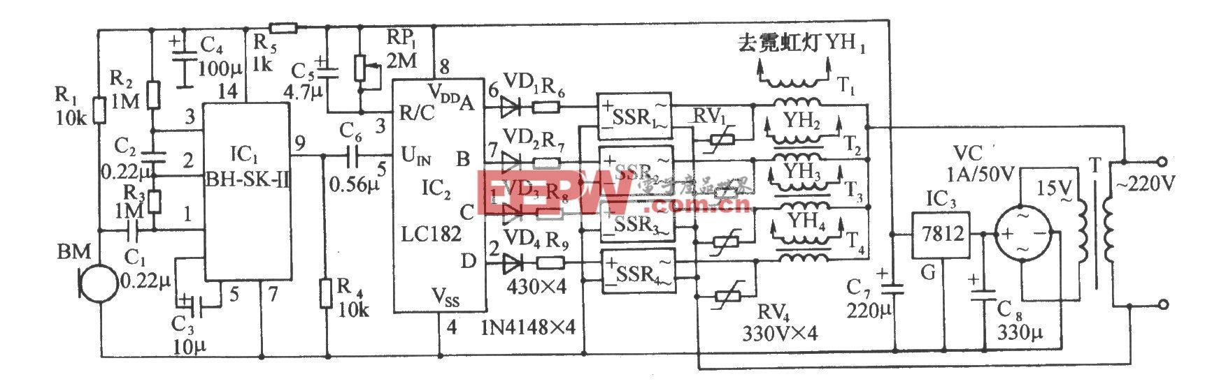 LCl82音频压控霓虹灯图案控制电路