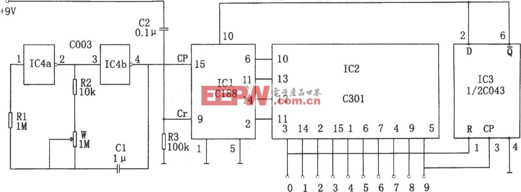 可逆式流水彩灯控制器(C043、C301、C188、C003)
