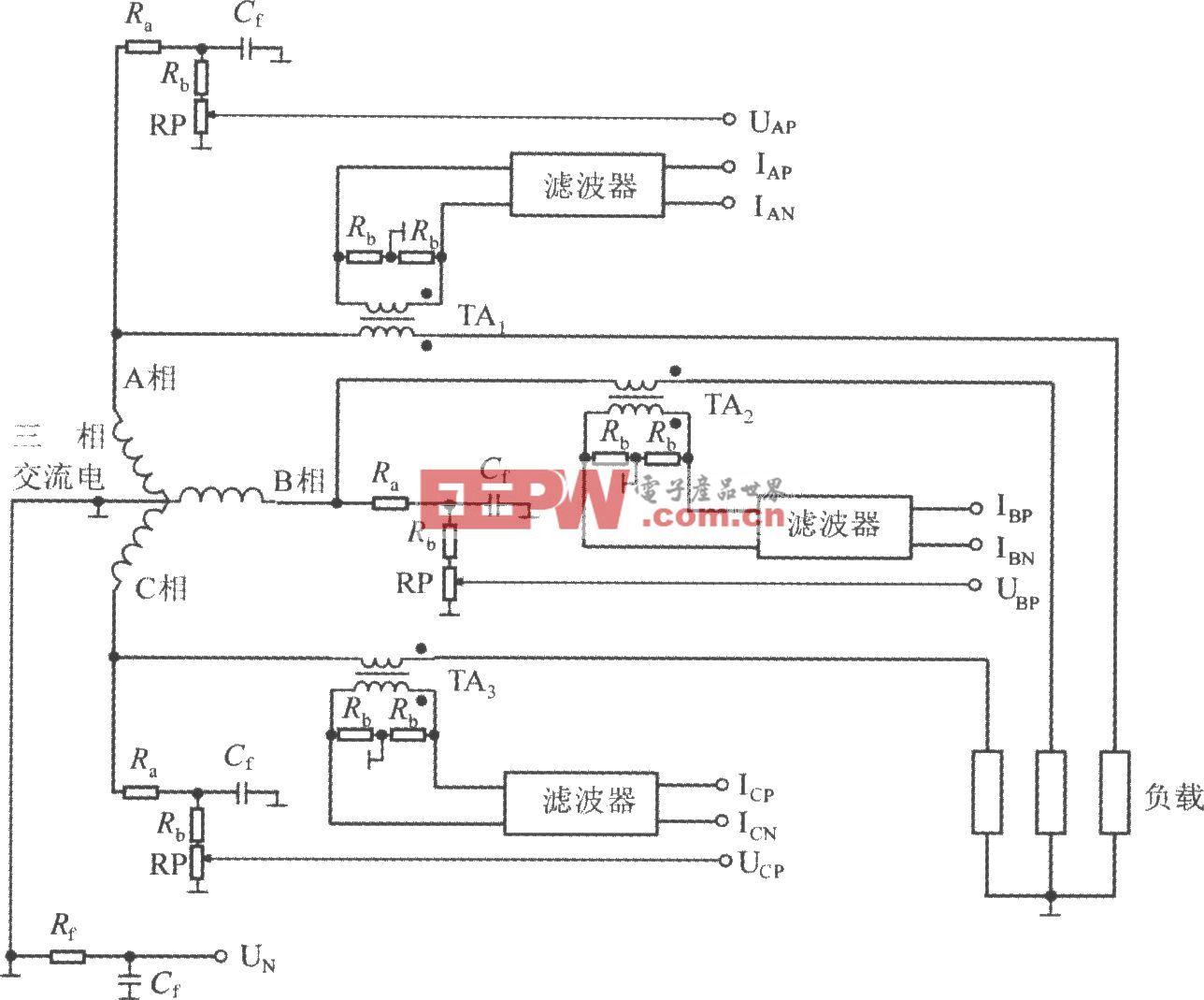 采用三相四线制星形接法的ADE7752(三相电能计量系统)电路