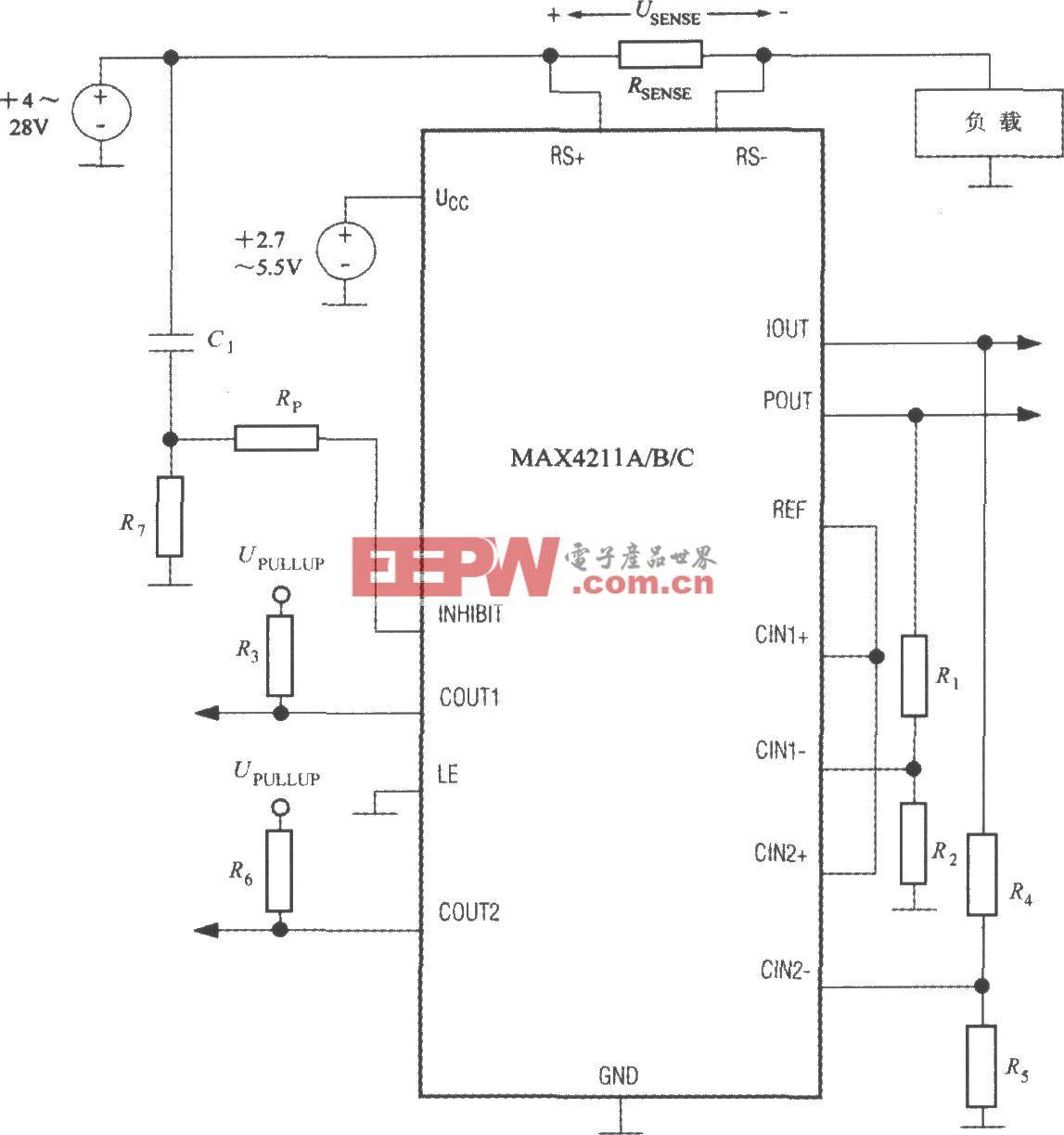 直流功率及電流測量系統MAX4211的典型應用電路