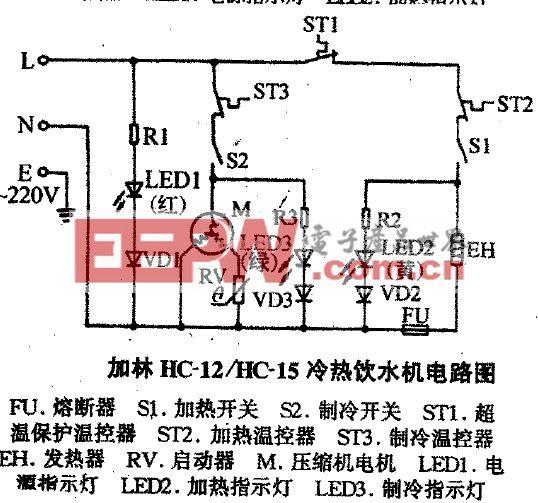加林HC-12冷热饮水机电路图
