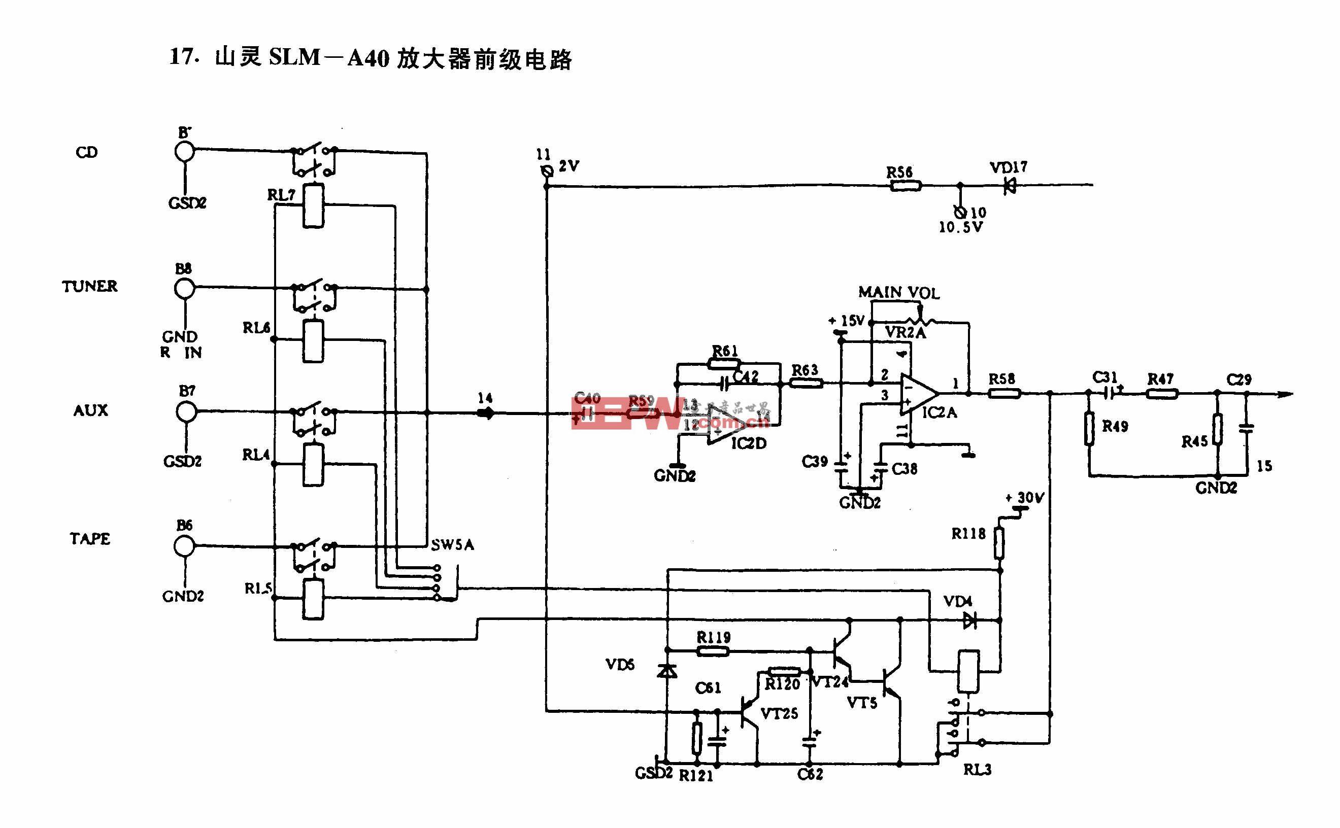 山灵SLM-A40放大器前级电路