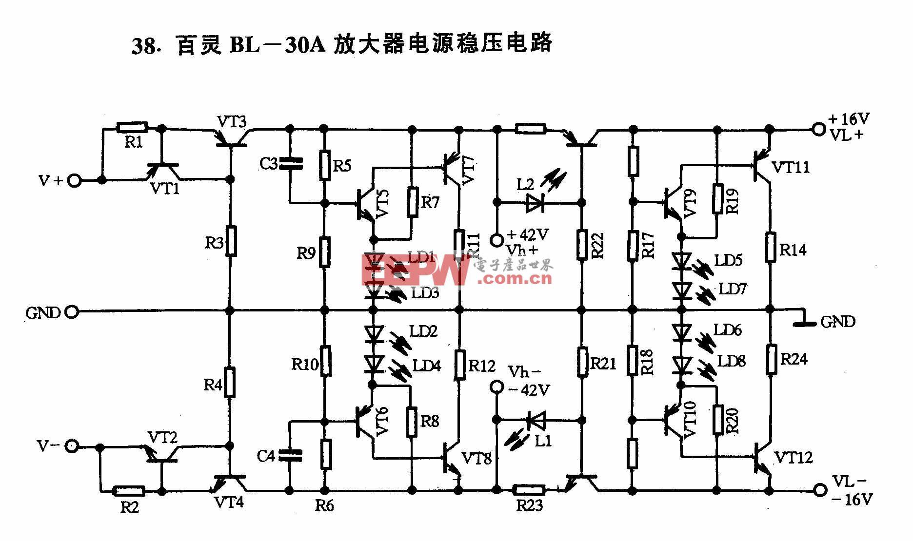 百灵BL-30A放大器电源稳压电路