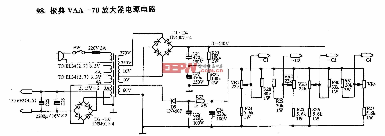 极典VAA-70放大器电源电路
