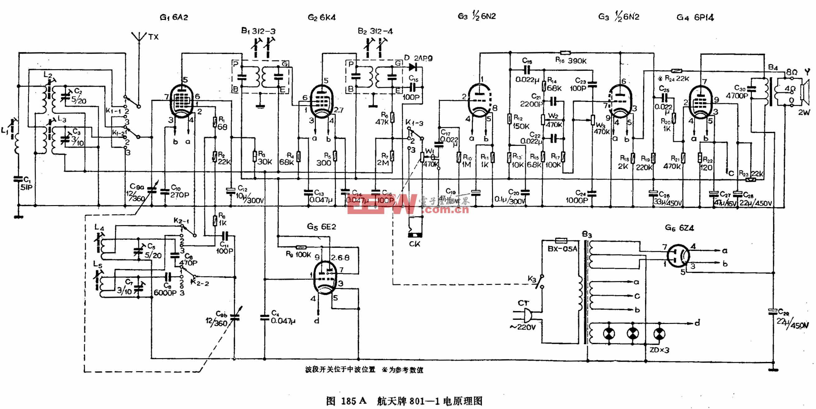 六燈電子管二波段收音機-航天牌801-1型電子管收音機