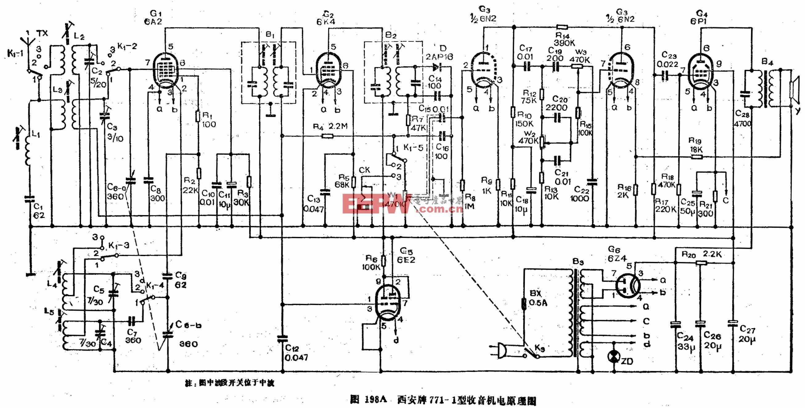 六燈電子管二波段收音機-西安牌771-1型電子管收音機