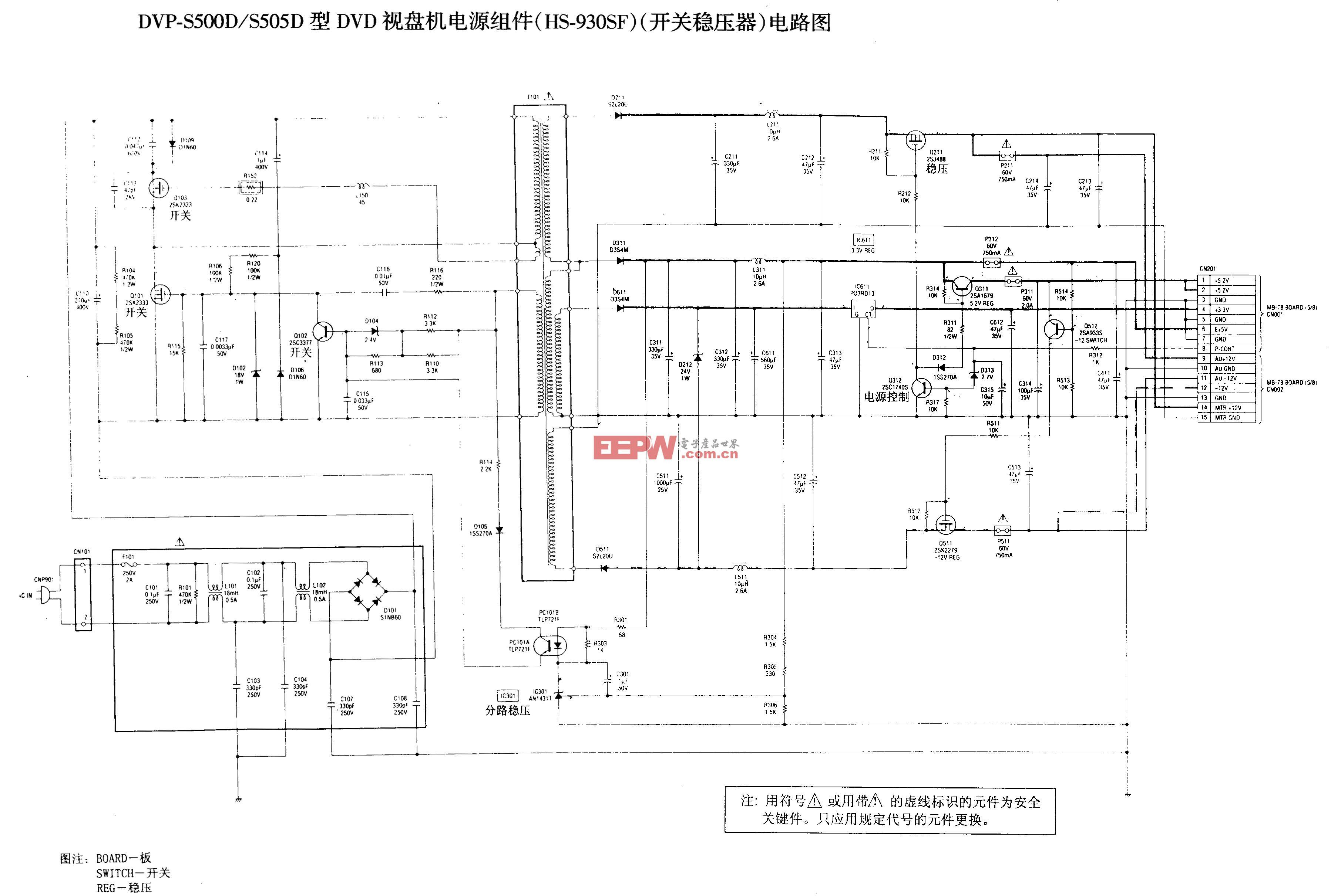 SONY DVP-S500D/S505D型DVD-RF,伺服,电源电路图A