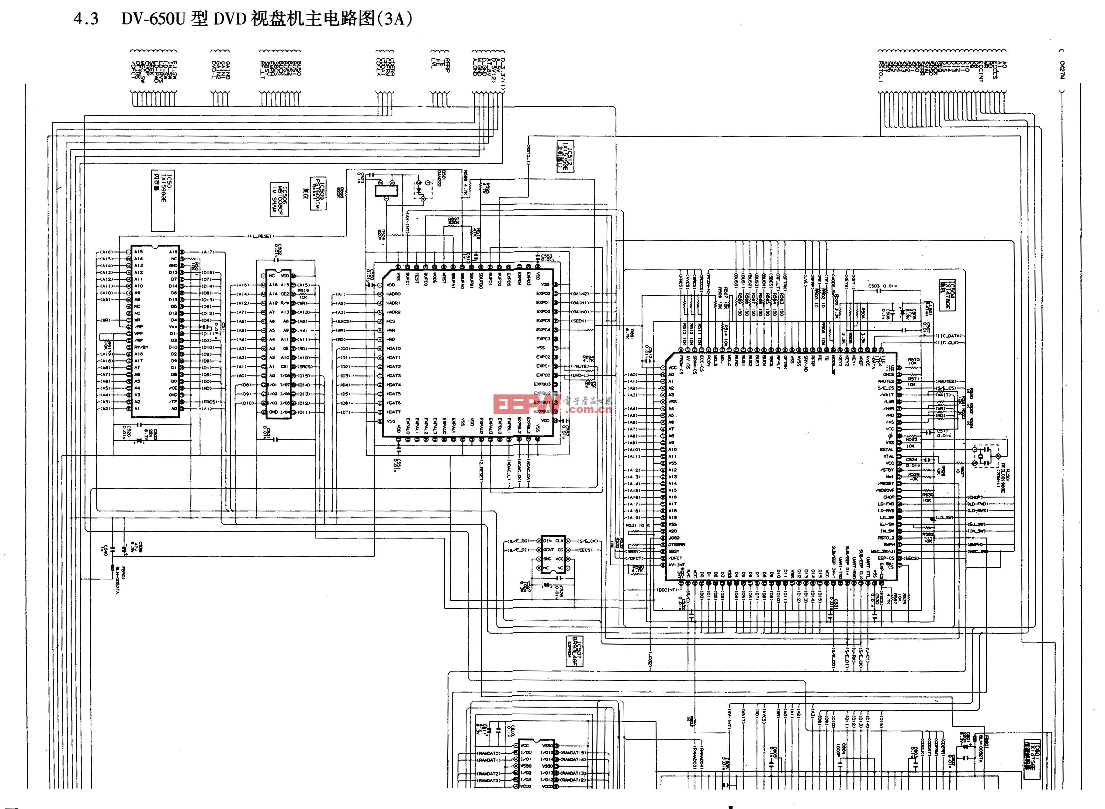 SHARP DV-600U、DV-650U型DVD-主电路图3A