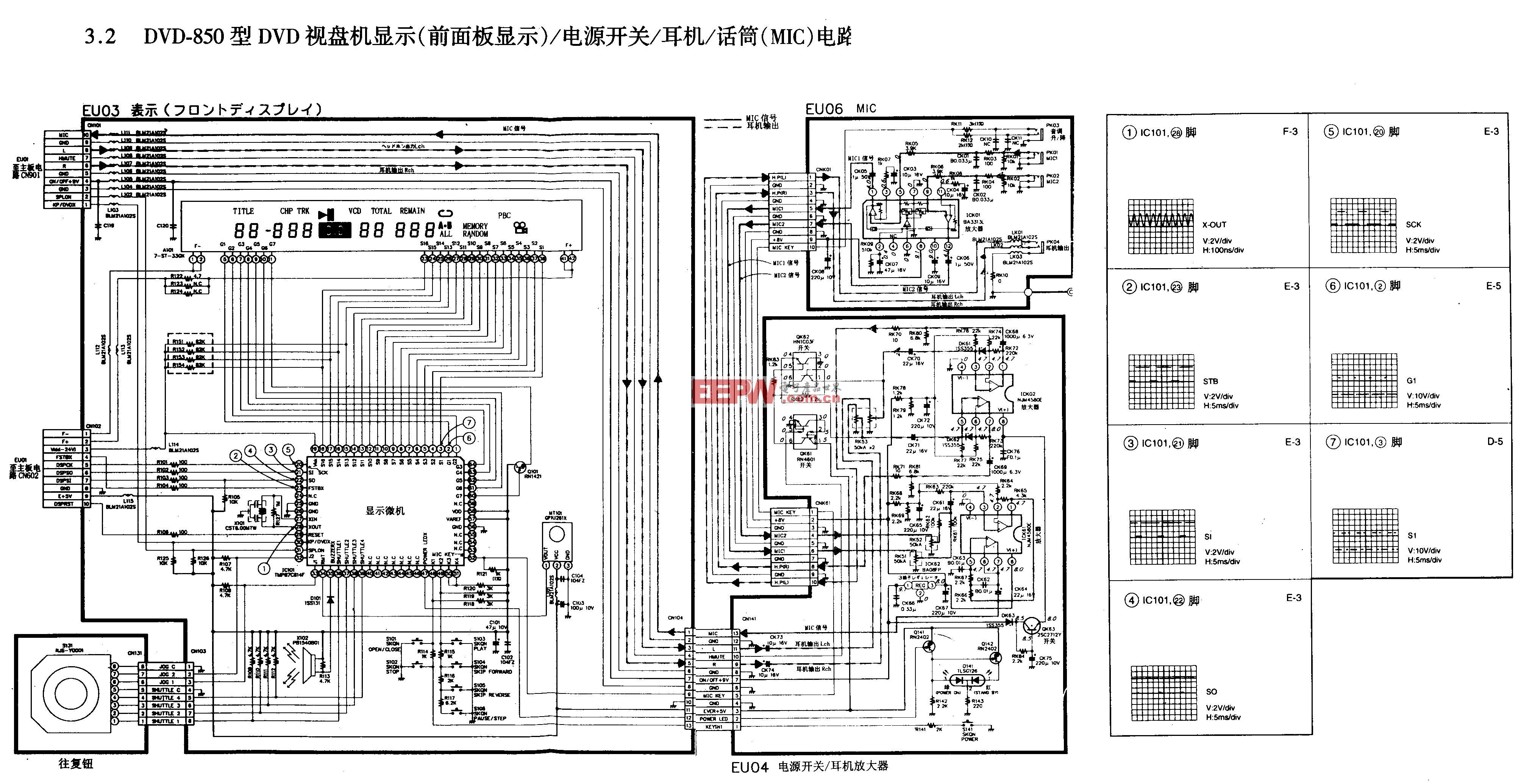 新科DVD-850型DVD-前面板显示/电源开关/耳机/话筒电路图