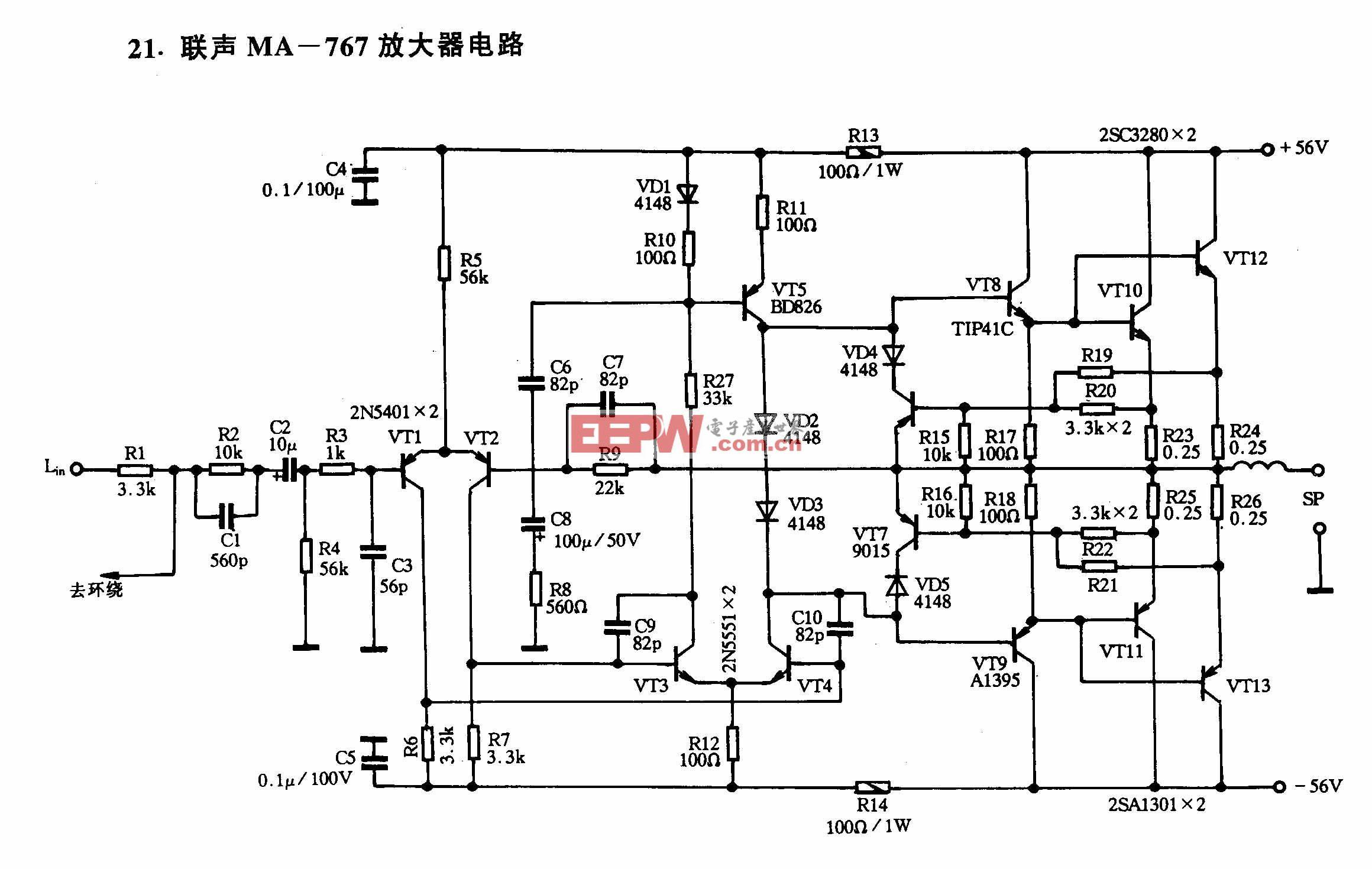 联声ma 767放大器电路 电路图 电子产品世界 高清图片