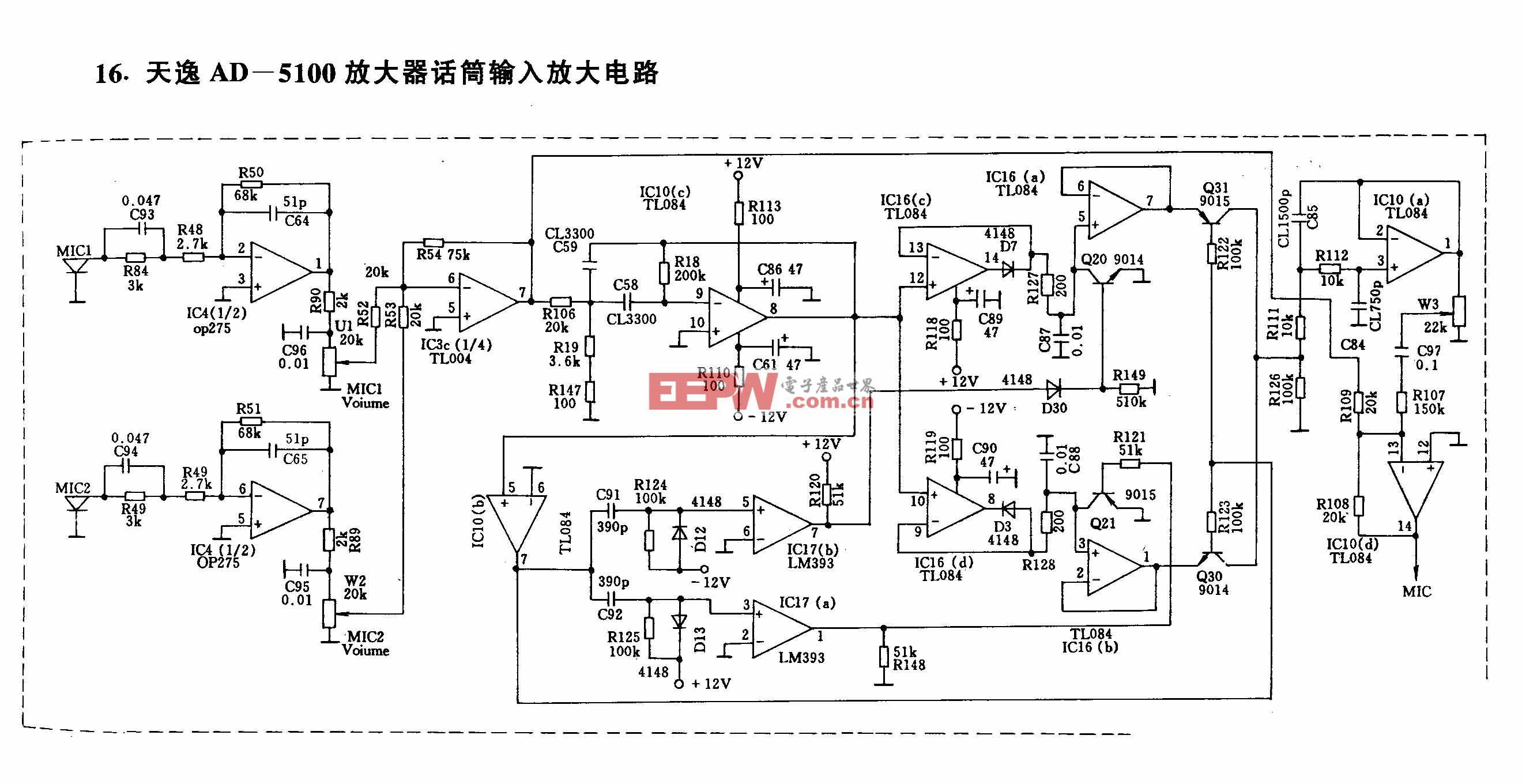 天逸AD-5100放大器话筒输入放大电路