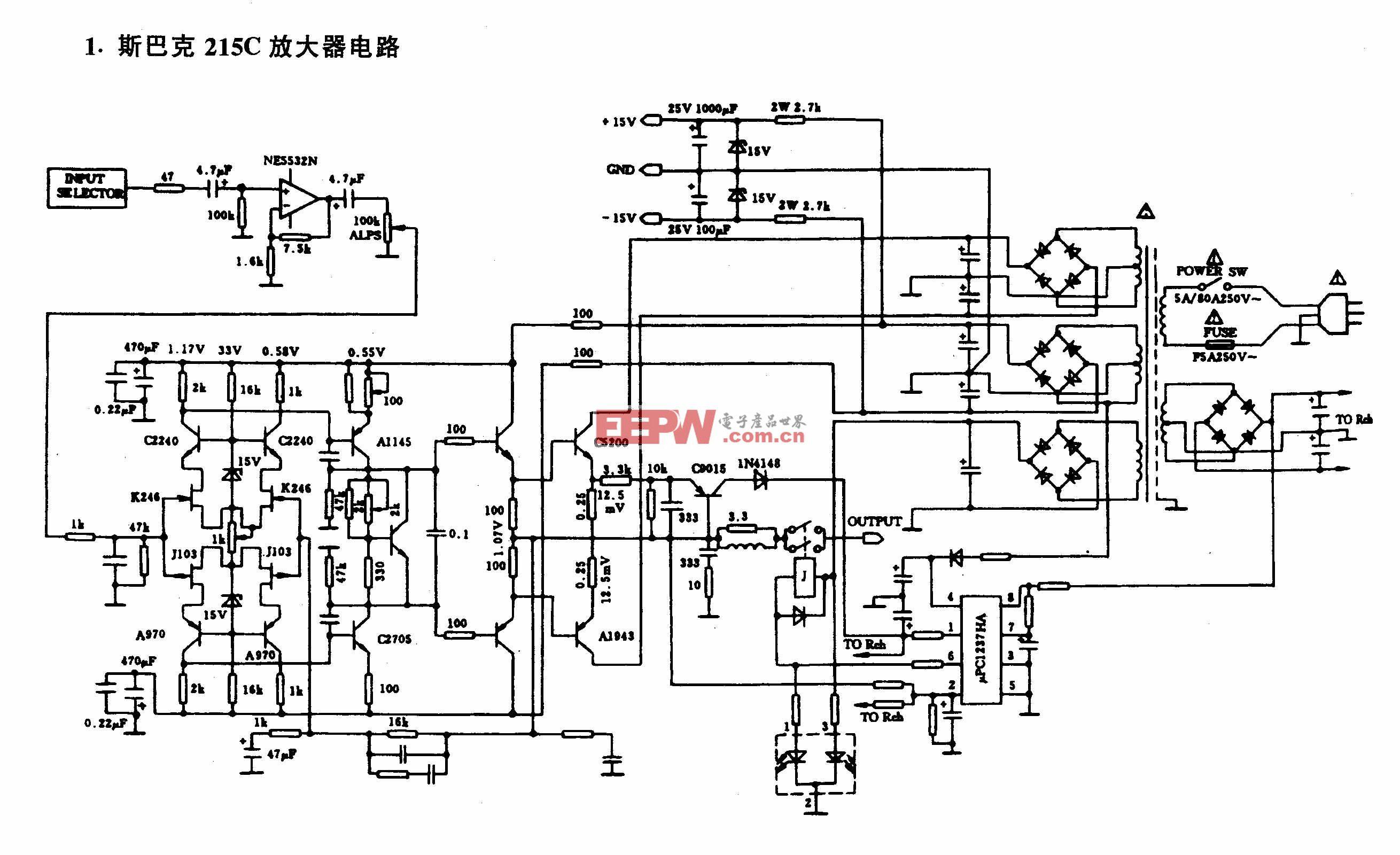 斯巴克 215 c放大器电路 电路图 电子产品世界高清图片