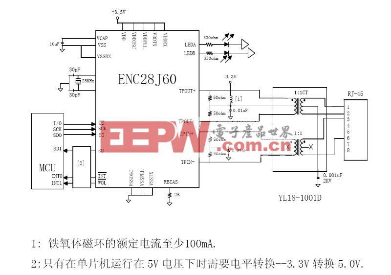 ENC28J60网络Ethernet接口电路图