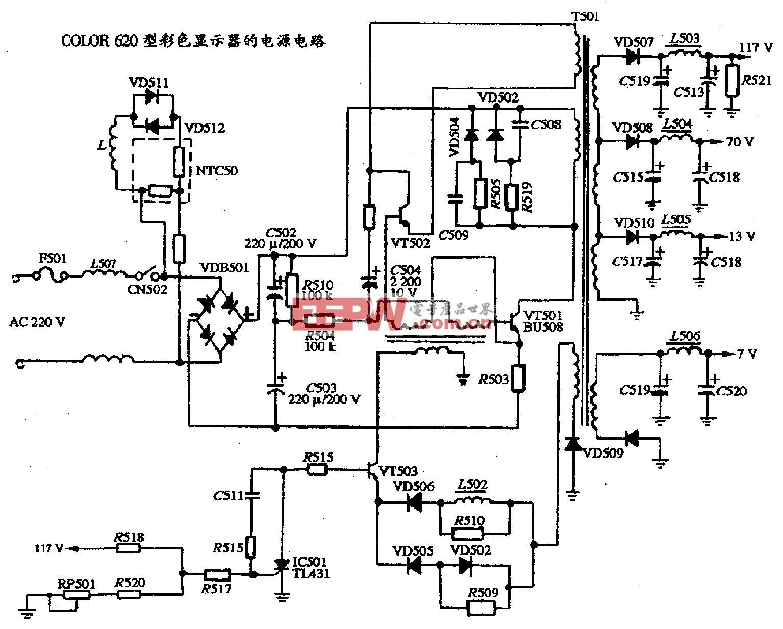 117、COLOR 620型彩色显示器的电源电路图