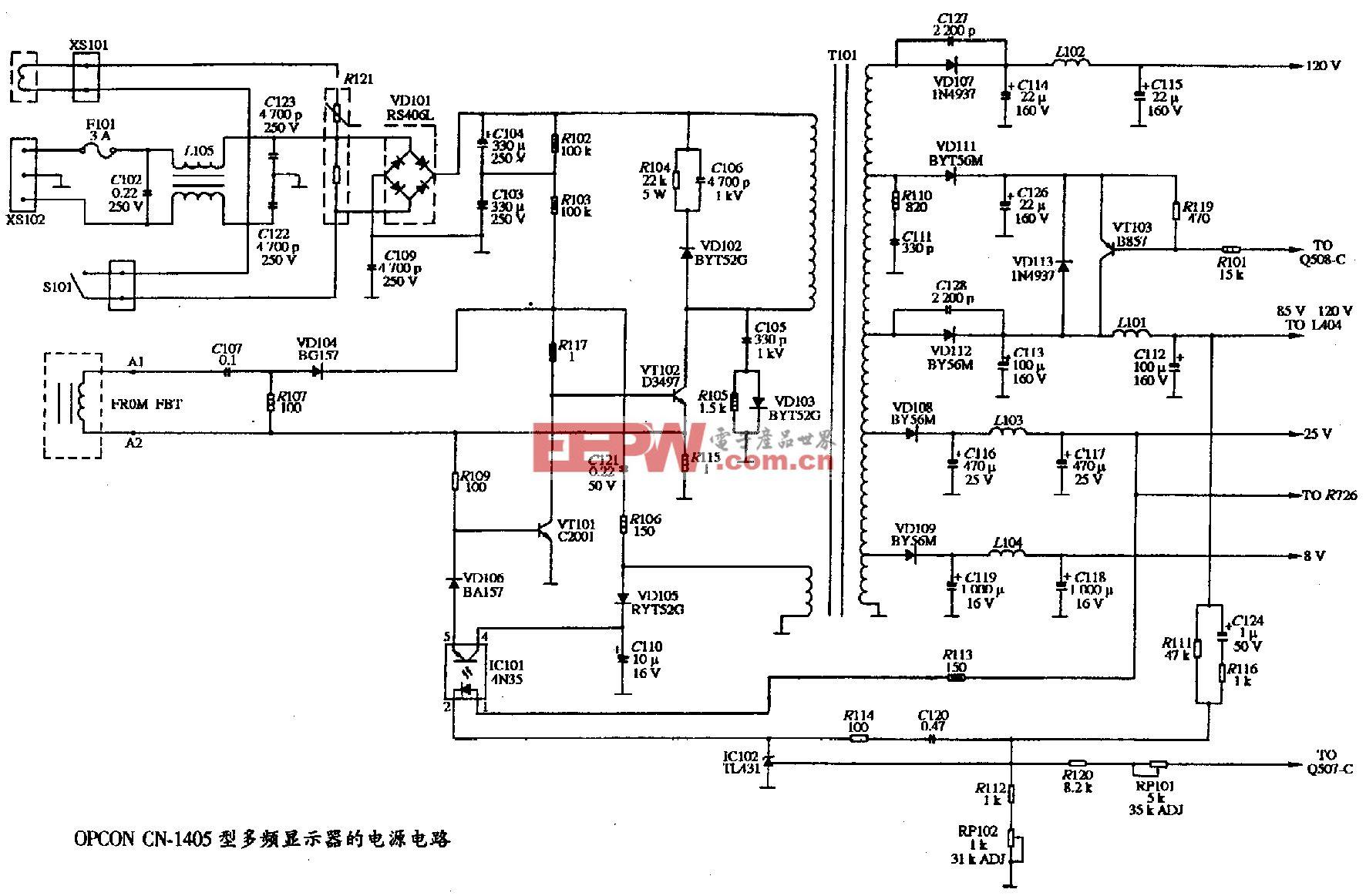 110、OPCON CN-1405型彩色显示器的电源电路图