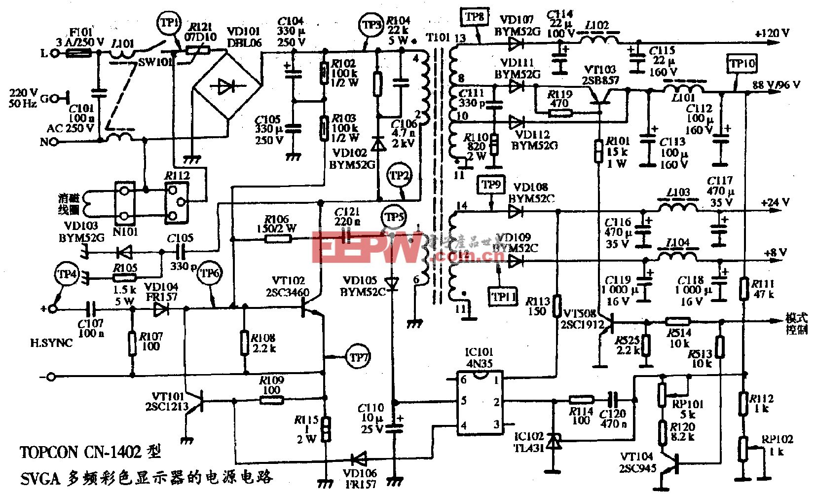 109、TOPCON CN-1402型SVGA彩色显示器的电源电路图