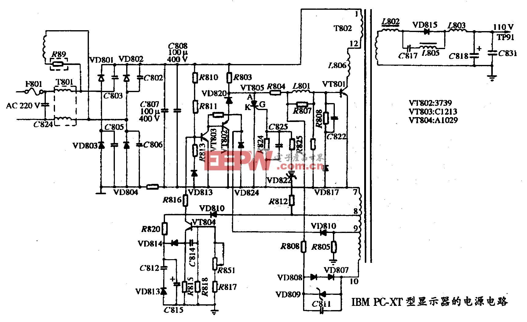 63、IBM PC-XT型顯示器的電源電路圖