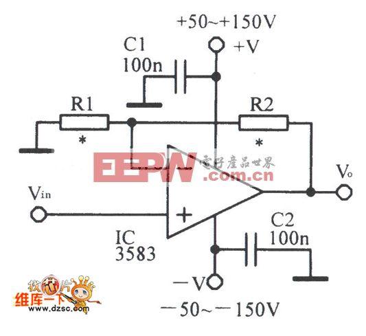 小型化的输出高压放大电路图
