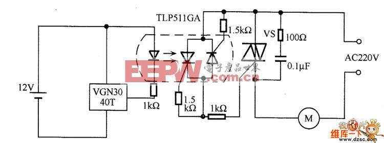 霍尔集成元件的交流电机通断电路图