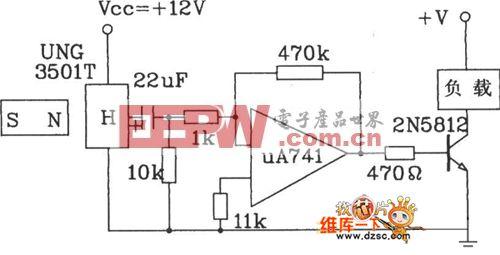 ugn-3501t霍尔传感器计数器电路图