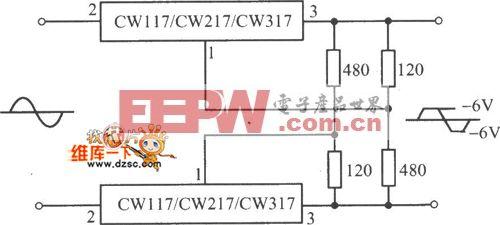 CW117/CW217/CW317交流峰值削波电路图
