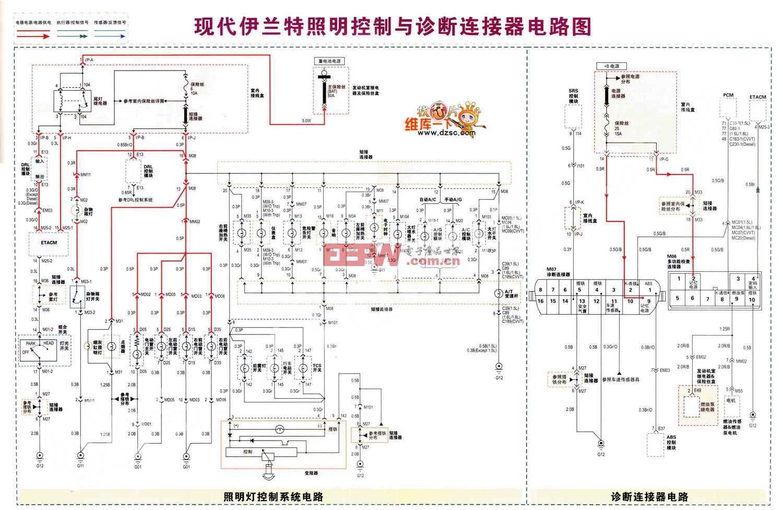 现代伊兰特照明控制与诊断连接器电路图