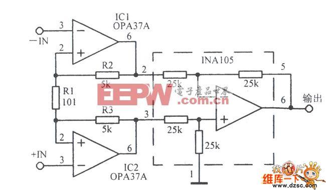 实用的低噪声仪器放大电路图