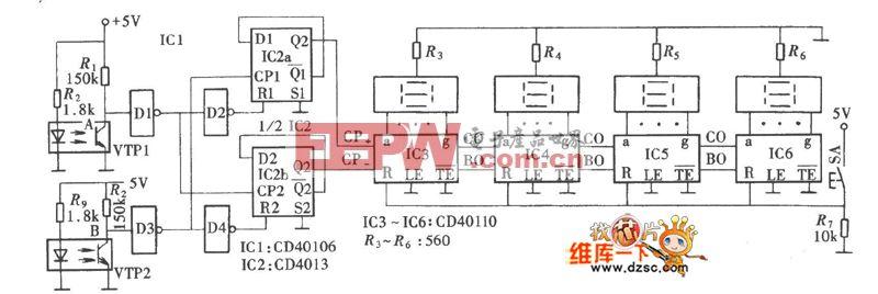 电工行业常用的具有加减功能的绕线机电子计数器电路图(CD40110、CD40106)