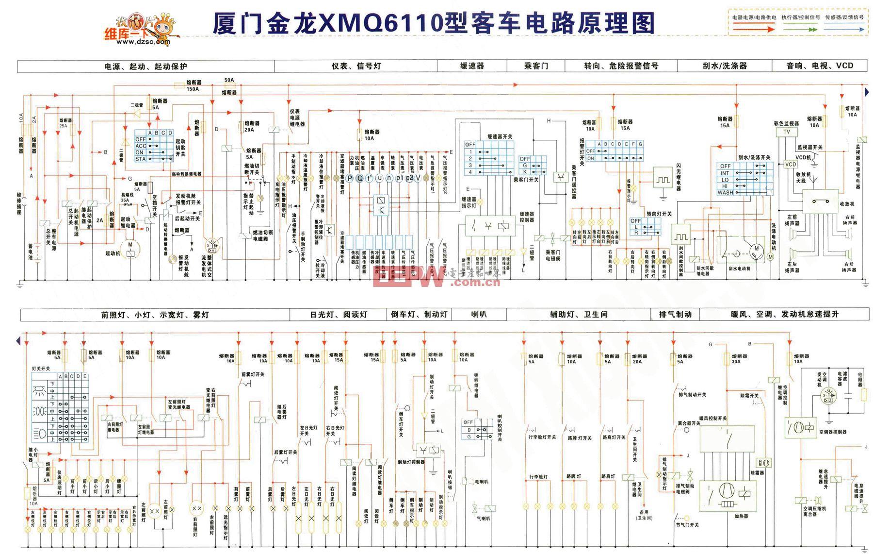 厦门金龙XMQ6110型客车电路原理图