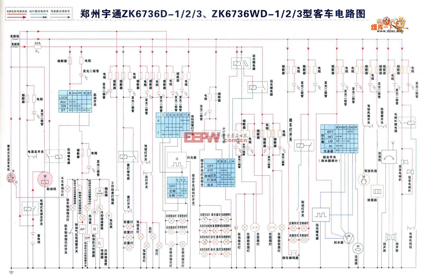 郑州宇通ZK6736D-1、2、3、ZK6736WD-1、2、3型客车电路图