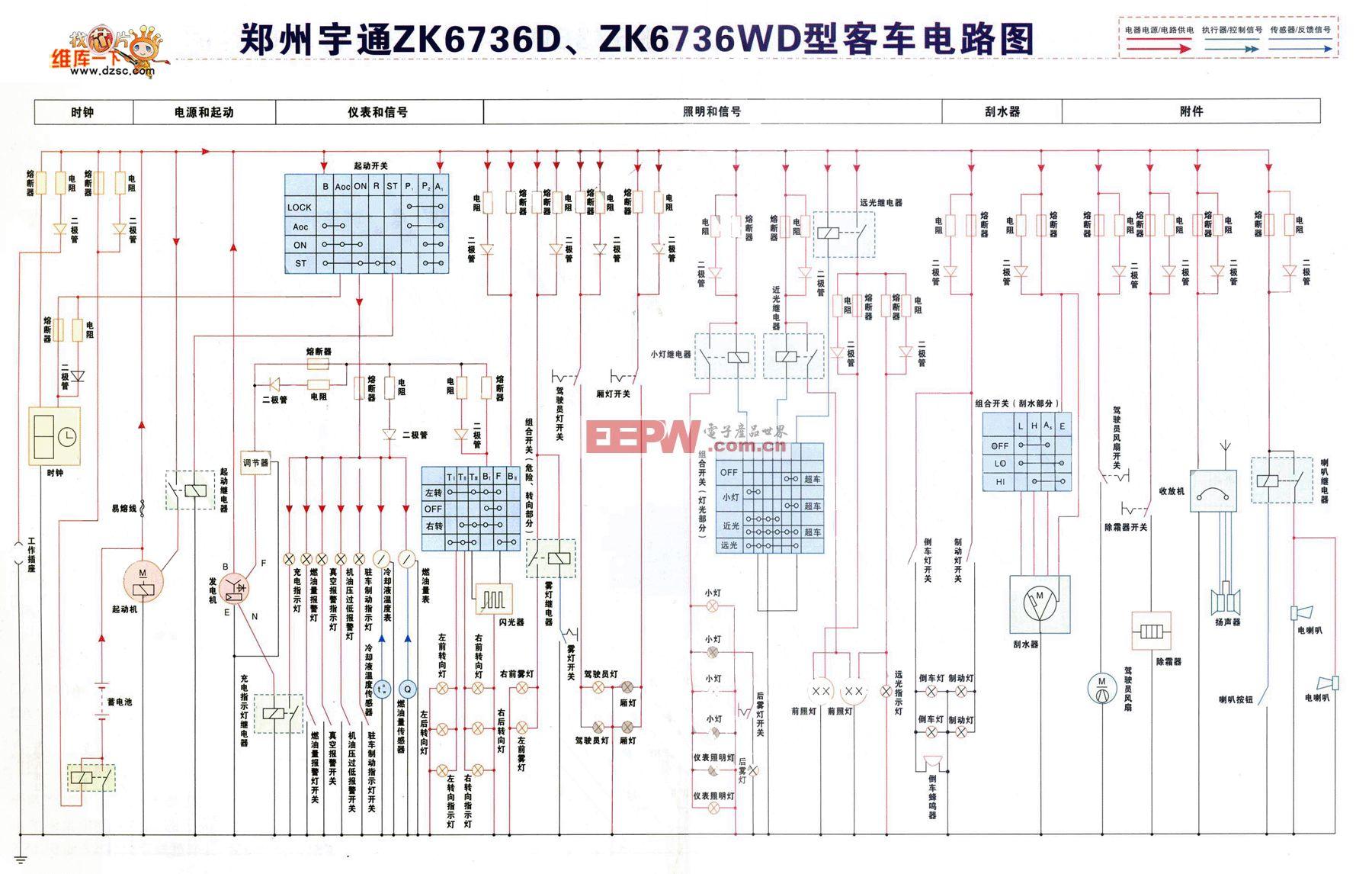 郑州宇通ZK6736D、ZK6736WD型客车电路图