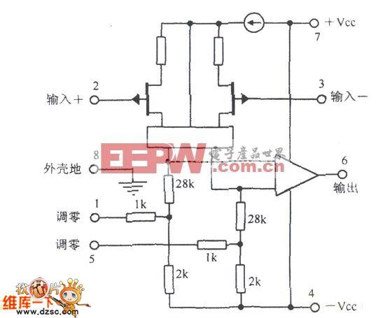 调零接线图与静电计级运算放大电路图
