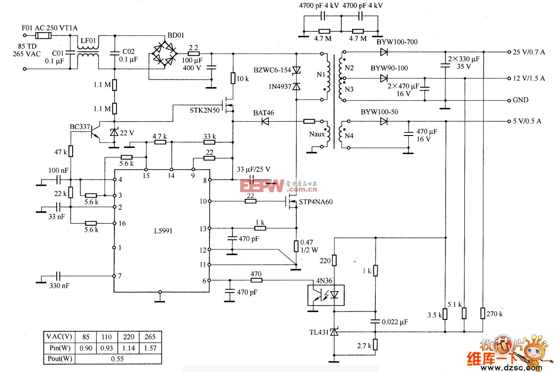 L5991 40W喷墨打印机电源中的应用电路图