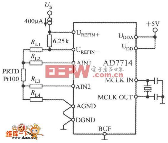AD7714与Pt100构成的测温电路图
