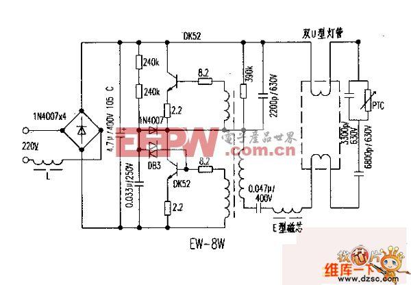 EW-8W型电子镇流器电路图