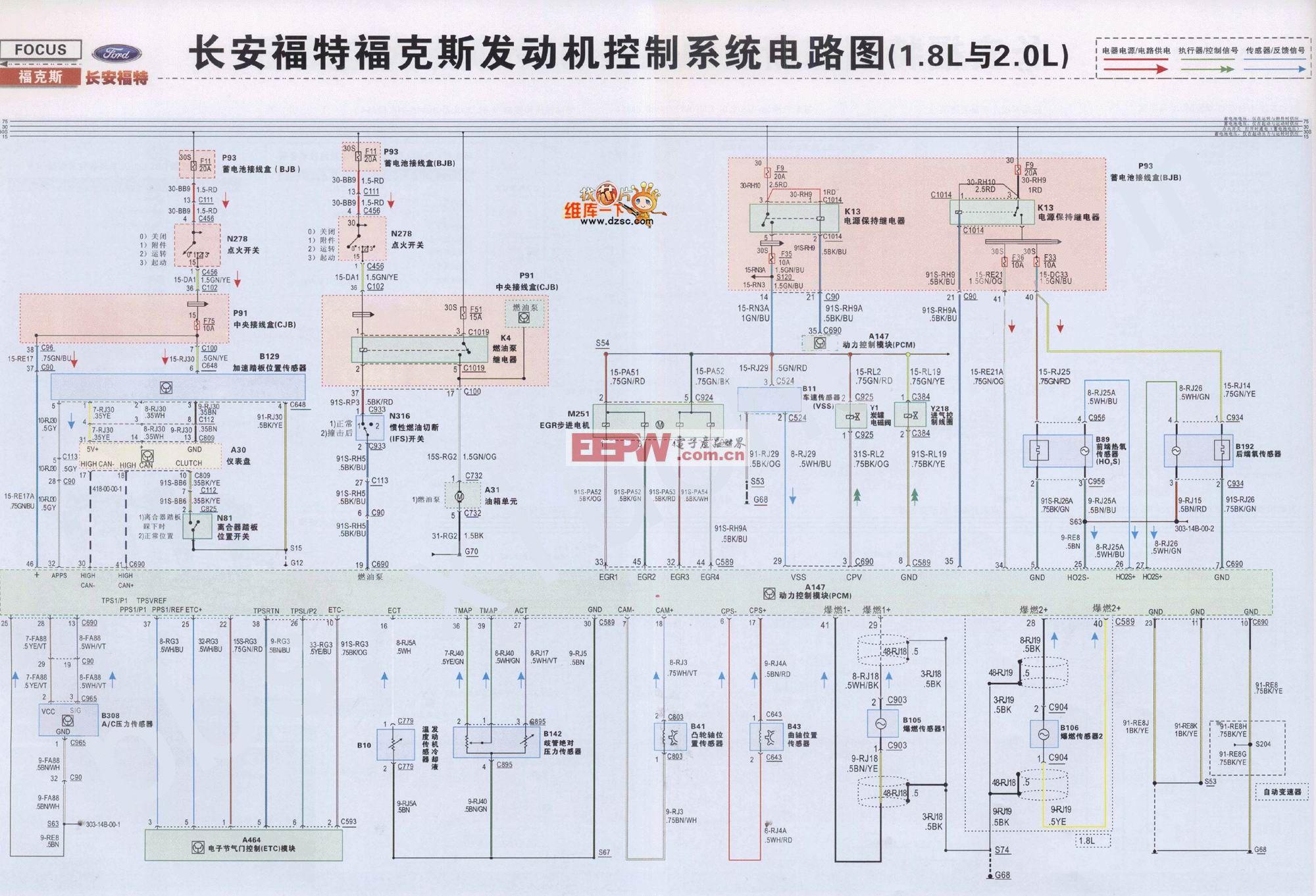 福特??怂拱l動機起動控制系統電路圖