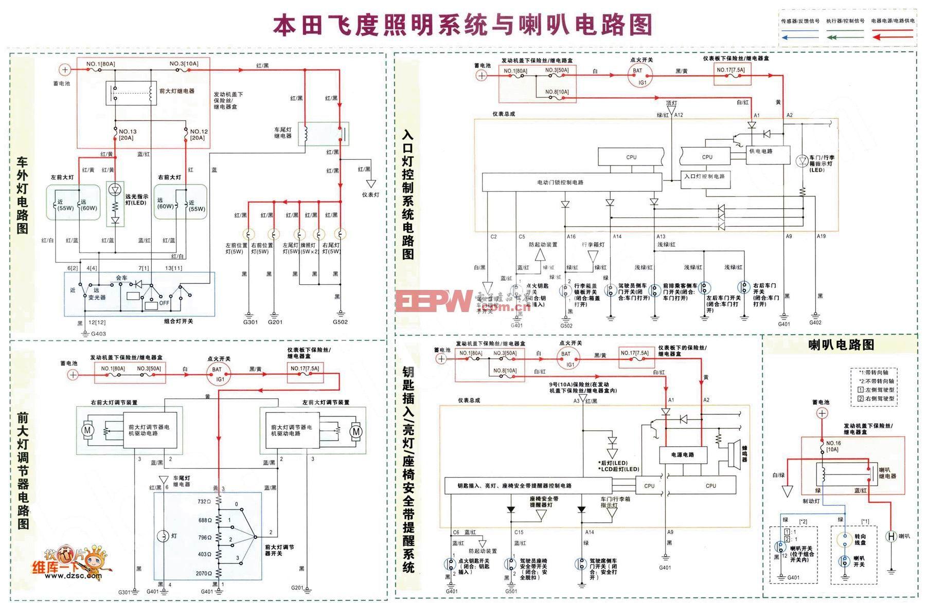 本田飞度照明系统与喇叭电路图