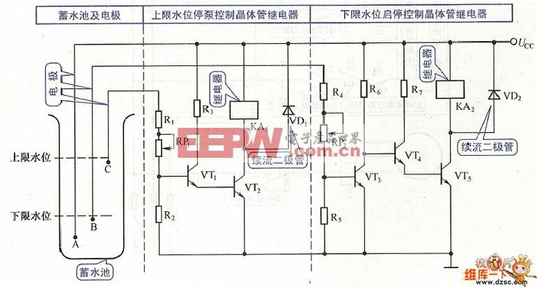 水泵启停控制电路图