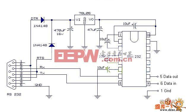 单片机与rs232串口接线图