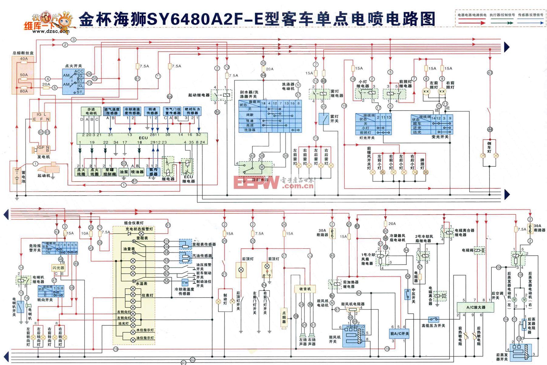 金杯海狮SY6480A2F-E型客车单点电喷电路图