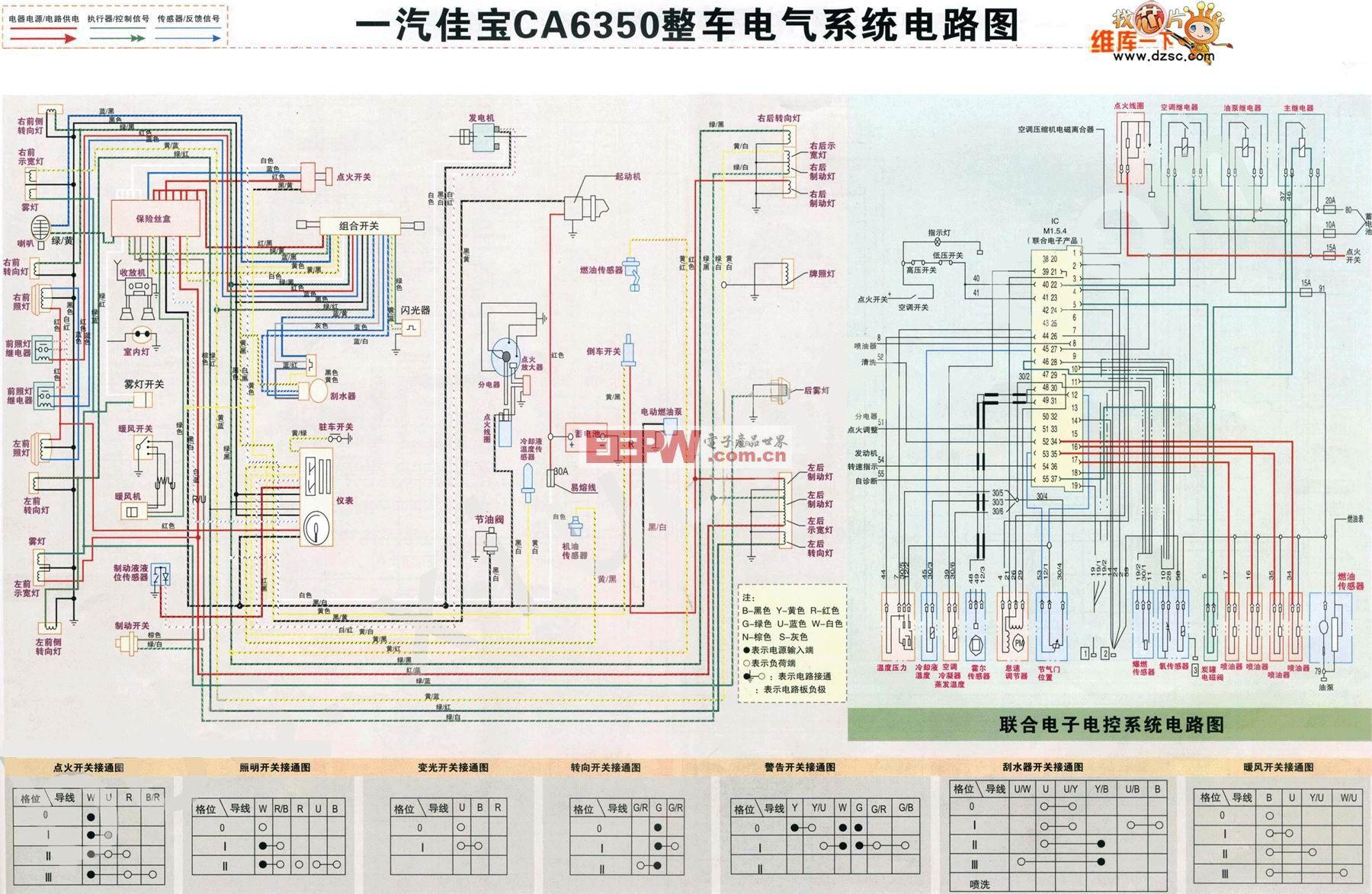 一汽佳宝CA6350整车电气系统电路图
