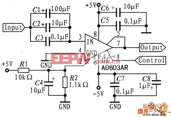 AD603电压增益控制电路图